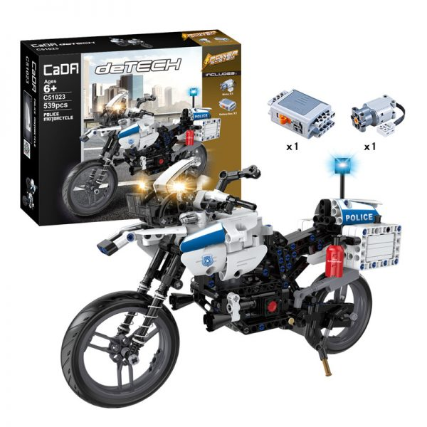 DoubleE / CADA C51023 Two-wheeled police motorcycle power building blocks 1