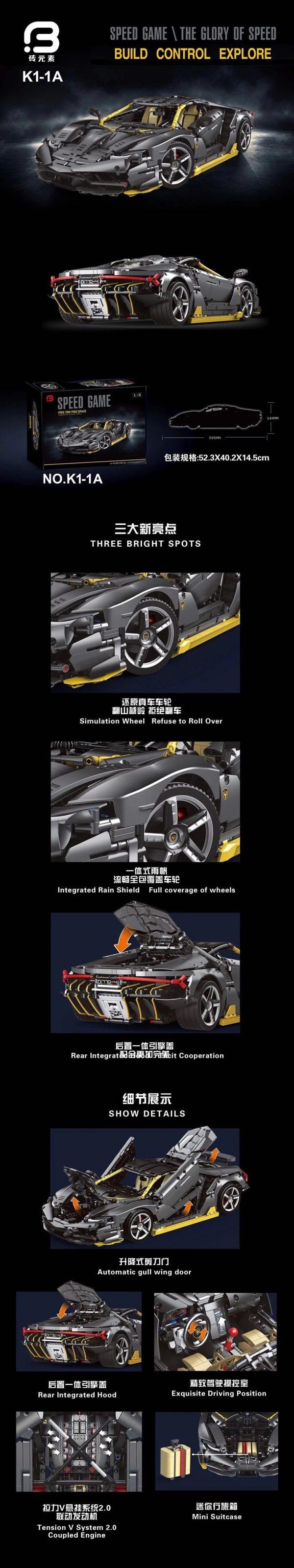 DoubleE / CADA C61041 Lamborghini Centenario 1:8 hypercar 19